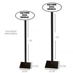 Suporte Pedestal de Chão com Placa Acrílica Retire sua Senha Branca