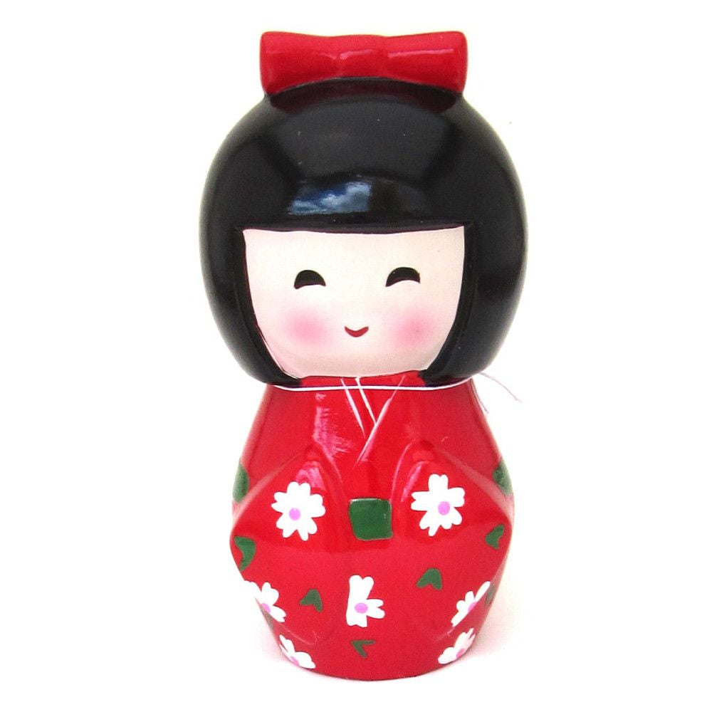 Cofre formato Boneca Japonesa Kokeshi - Vermelha