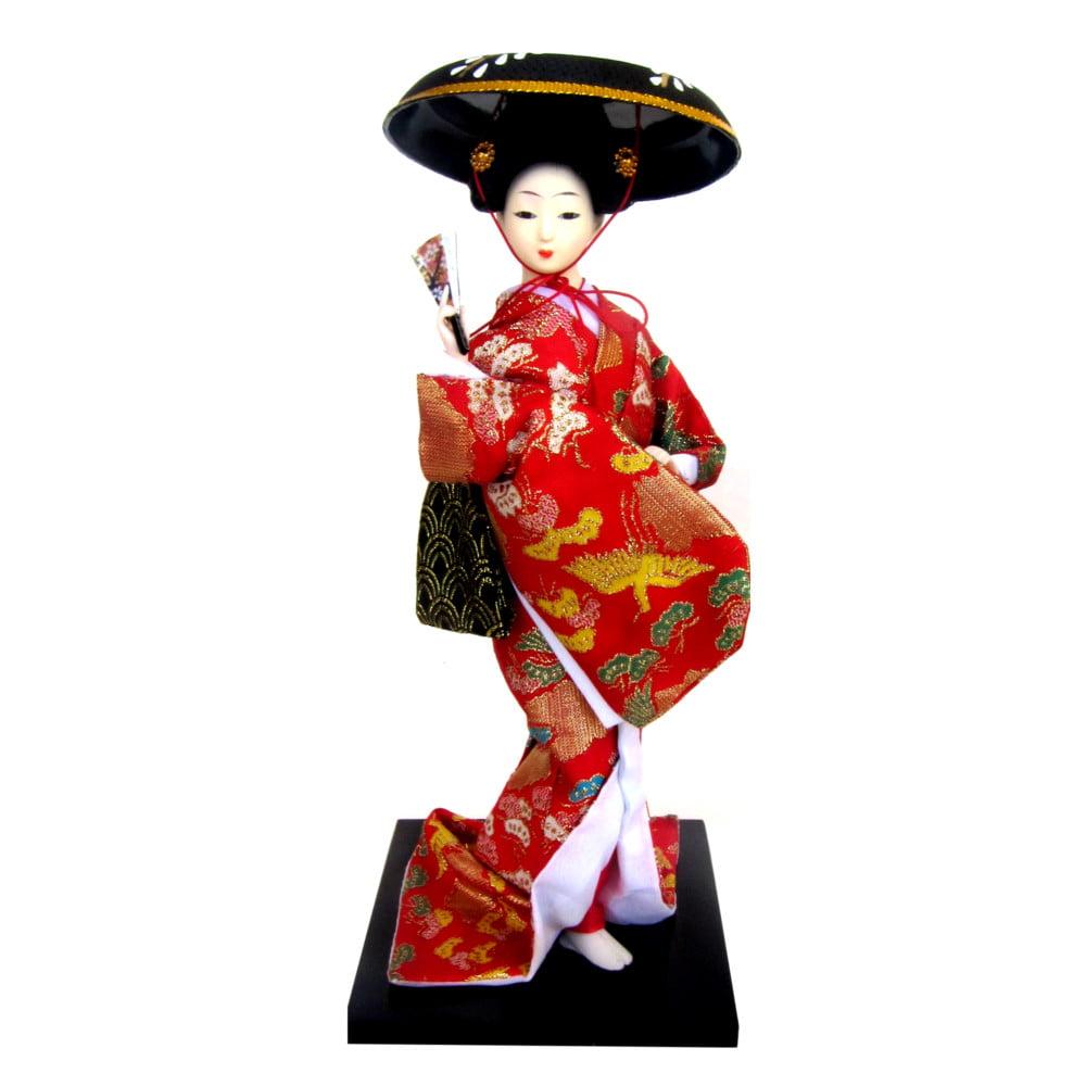 Boneca Japonesa Gueixa Artesanal com Kimono Vermelho e Chapéu Preto