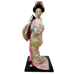 Boneca Japonesa Gueixa Artesanal com Kimono Branco Floral e Taiko