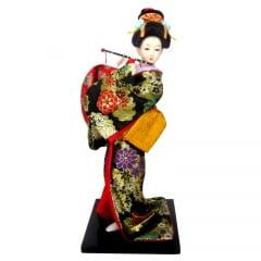 Boneca Japonesa Gueixa Artesanal com Kimono Preto e Flauta