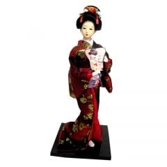 Boneca Japonesa Gueixa Artesanal com Kimono Vinho e Leque Retangular