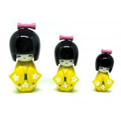 Trio Boneca Japonesa Kokeshi  Amarela - TKAM