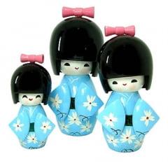 Trio Boneca Japonesa Kokeshi  Azul - TKAM