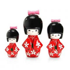 Trio Boneca Japonesa Kokeshi  Vermelho - TKVM