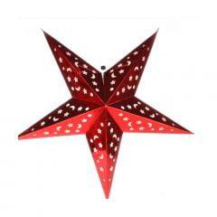 Luminária Metalizada Estrela Vermelha - 60 cm