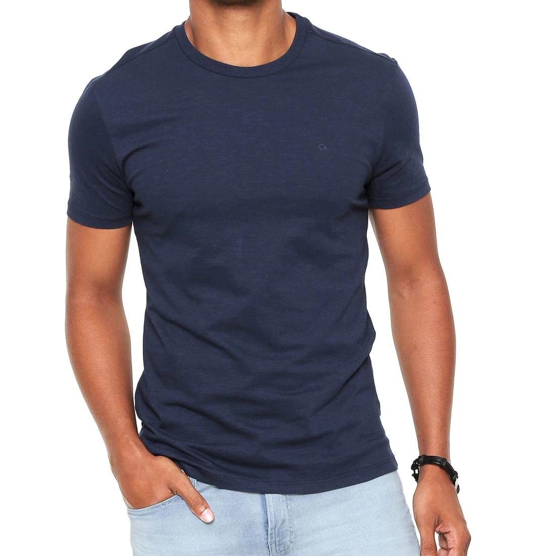 Camiseta Calvin Klein Slim Azul Básica  2fc594768b0