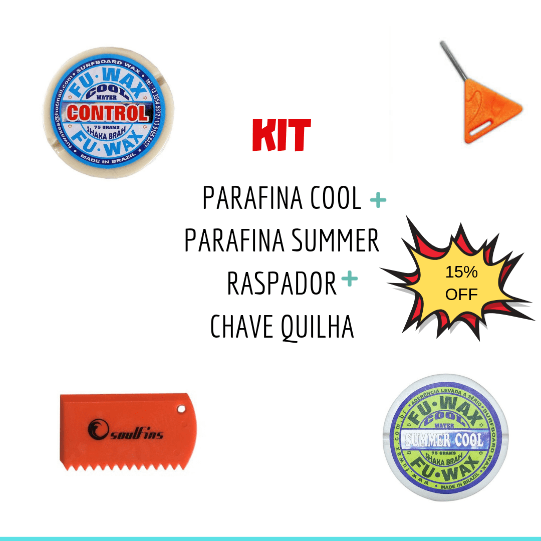 Kit Parafina Agua Gelada + Parafina Agua Morna + Raspador Parafina + chave quilha