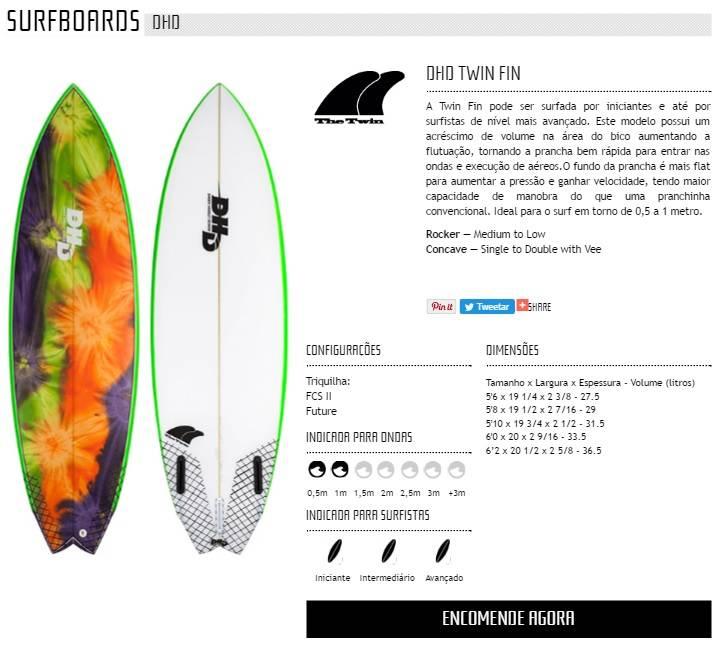 Prancha de Surf DHD TWIN FIN Encomenda