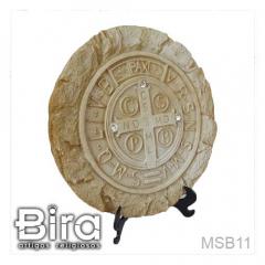 Quadro de Mesa Medalha de São Bento em Resina - 11x11cm - Cód. MSB11