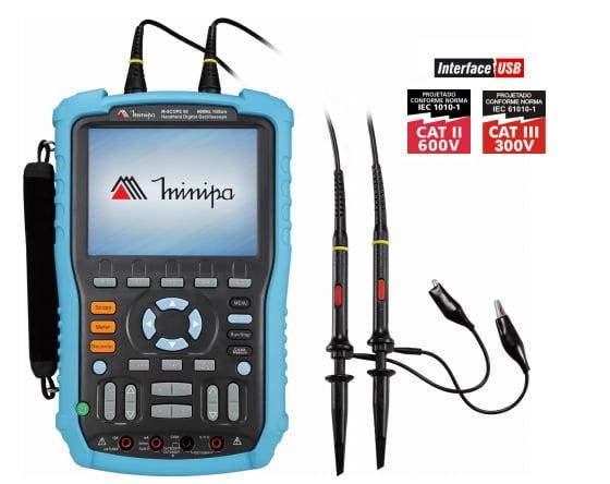 Osciloscópio Digital Portátil 100MHz ISO-SCOPE 100 MINIPA INTERFACE USB
