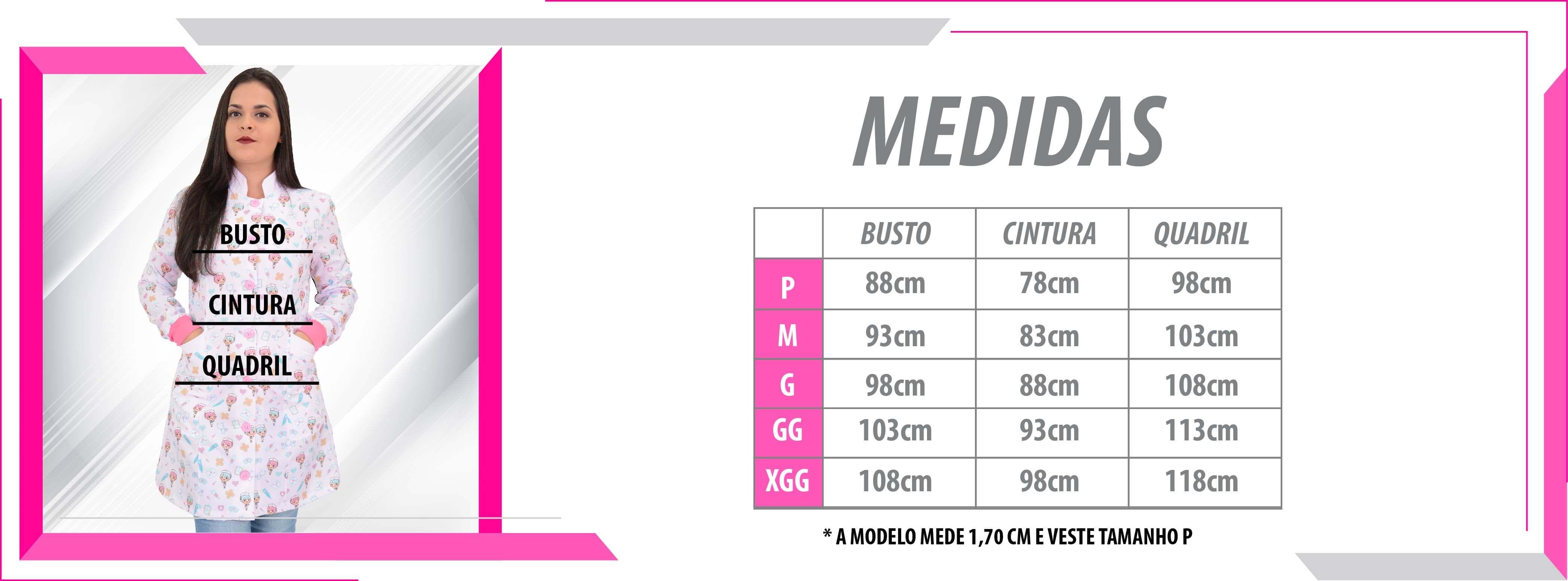 Jaleco Gabardine - Tabela de Medidas