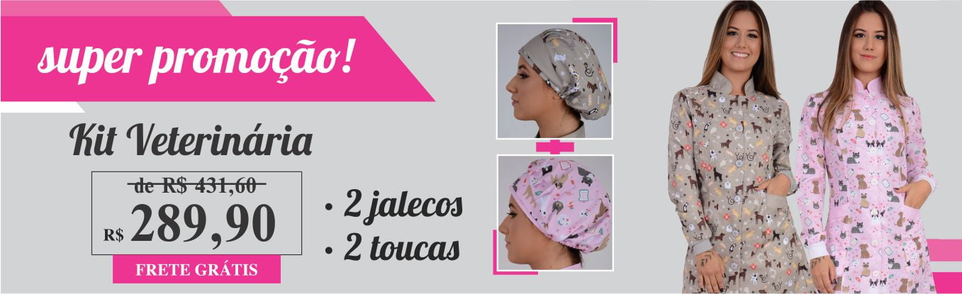 Kit Jaleco Feminino Veterinária