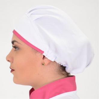 Touca Feminina Branco com detalhes Pink