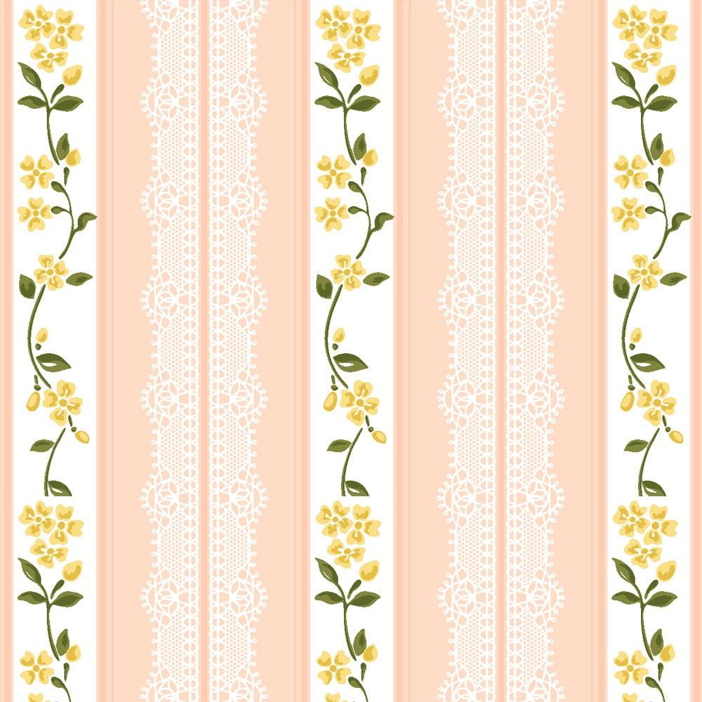 Tecido Nacional Listrado Rendas Rosa antigo - 5917