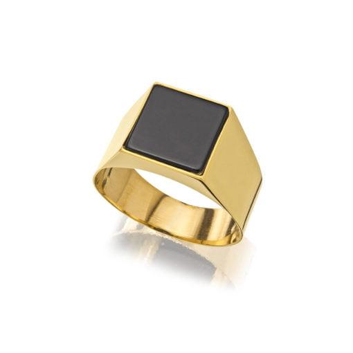 Anel Quadrado Forrado Ouro 18k com Pedra Ônix