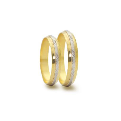 Par de Alianças em Ouro 18k 5 gramas 4mm de largura  – Abaulada Trabalhada - Bodas de Prata