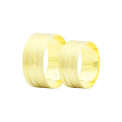 Par de Alianças em Ouro 18k 10 gramas 9mm de largura – Slim Trabalhada