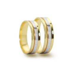Par de Alianças em Ouro 18k 10 gramas 5mm de largura  – Quadrada Côncava Trabalhada - Bodas de Prata