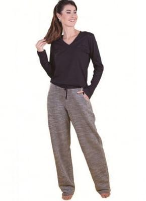 Pijama Monthal Blusa Preta e Calça Cinza