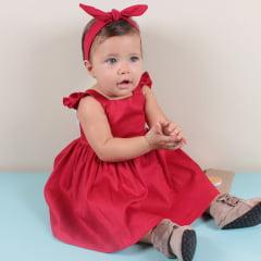 5bee93335d Vestido Infantil Vermelho e Branco Sofia