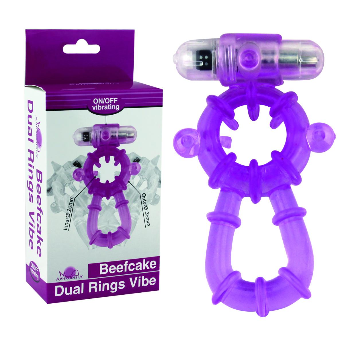 Beefcake Dual Rings Vibe Purple - Anel peniano e escrotal