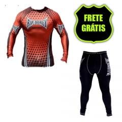 Kit Promocional Camisa Faixa Marrom e Calça Compressão