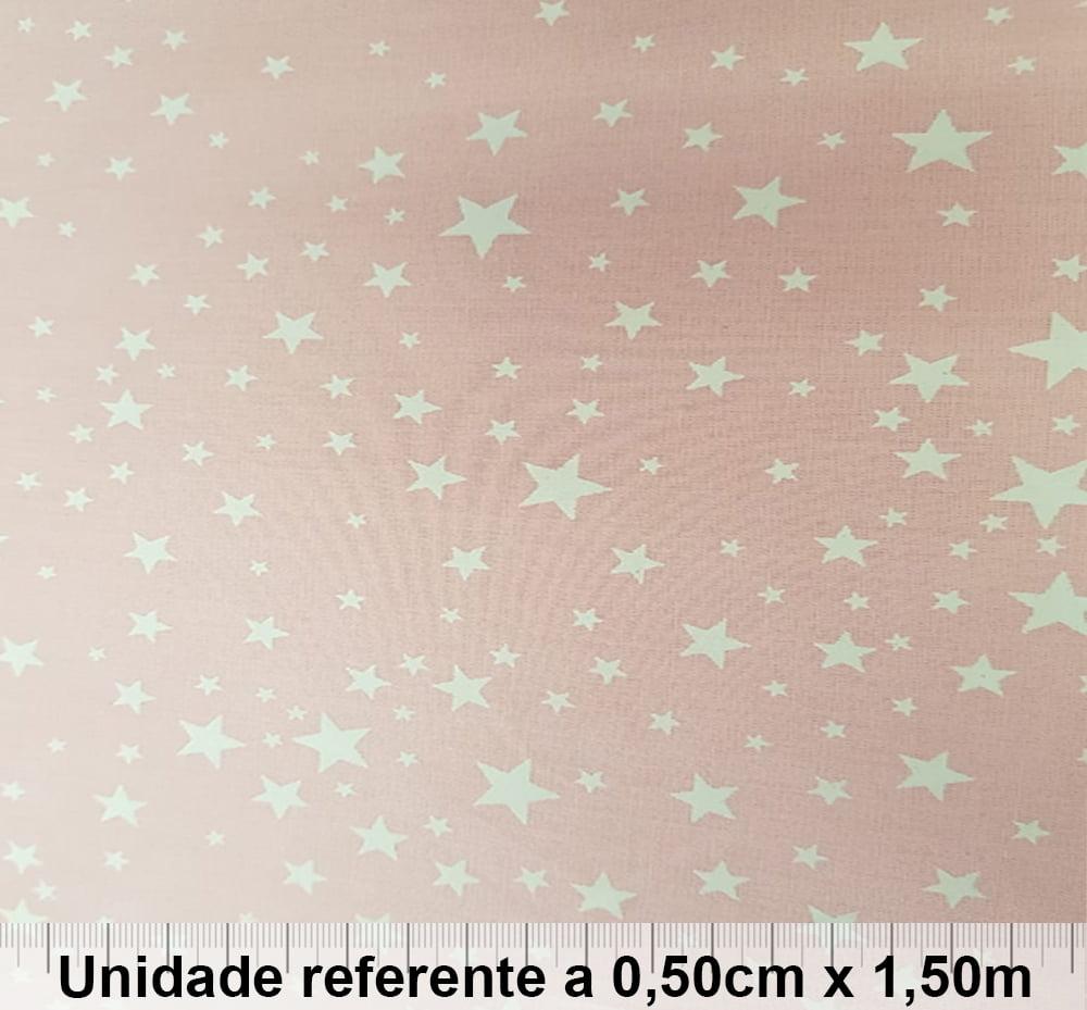 Tricoline Estrelas Rosa