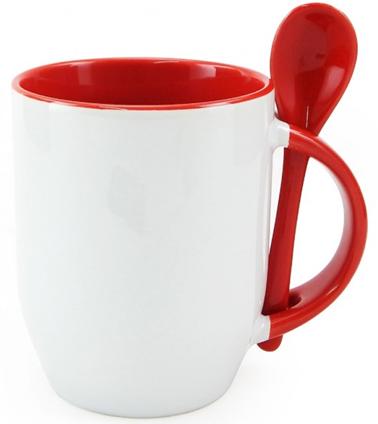 Caneca de cerâmica com colher branca/interna Vermelha