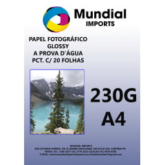 Papel Fotográfico Glossy 230g/A4 - Pacote c/20 folhas