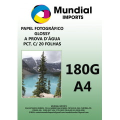 Papel Fotográfico Glossy 180g/A4 - Pacote c/20 folhas