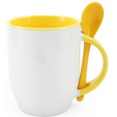 Caneca De Cerâmica Com Colher Interna E Alça Amarela