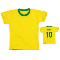 Camiseta Amarela Infantil 100% Poliéster (Tamanho 2 ao 14)
