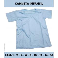 Camiseta Infantil Azul 100% Poliéster (Tamanho 1 ao 16)