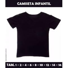 Camiseta Infantil Preta 100% Poliéster (Tamanho 1 ao 16)