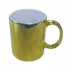 Caneca de Cerâmica Espelhada Dourada - Valor unitário