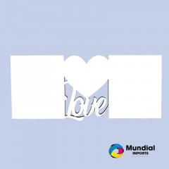 Quadro MDF 28x13,5 cm LOVE DUPLO