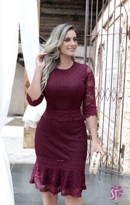 Moda Evangelica -  VESTIDO EVANGÉLICO DE RENDA COM TULE SOL DA TERRA 11218