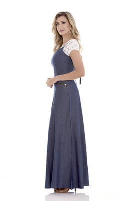 Moda Evangelica - VESTIDO LONGO JEANS EVANGÉLICO SOL DA TERRA 10717