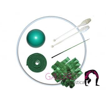 Kit Ginástica Rítmica Verde Metalizado