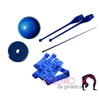 Kit Ginástica Rítmica Azul Metalizado - SEM ARCO