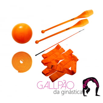 Kit Ginástica Rítmica Laranja Fluorescente - SEM ARCO