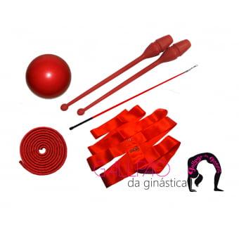 Kit Ginástica Rítmica Vermelho Metalizado - SEM ARCO