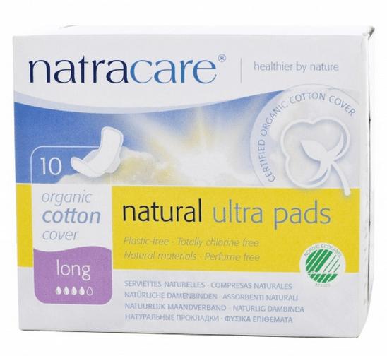 Absorvente Orgânico Natracare Long com abas Ultra Pads com 10 un