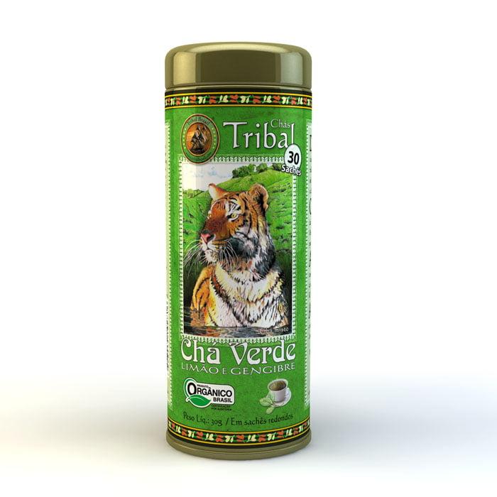 Chá Misto Orgânico Chá Verde - Limão e Gengibre - Lata 45g Tribal Brasil