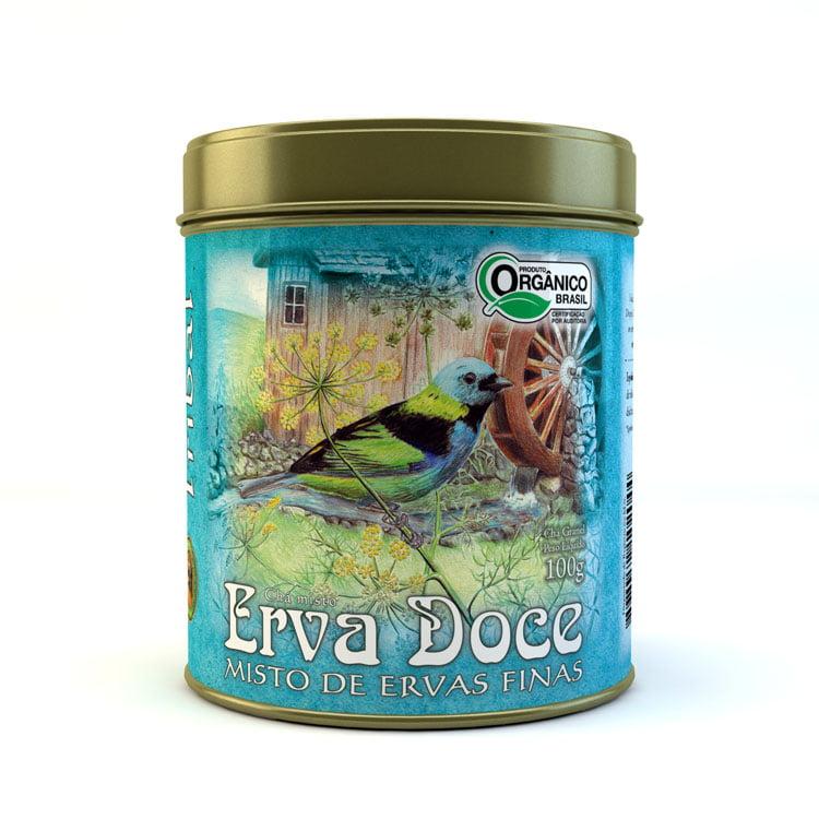 Chá Misto Orgânico Erva Doce com Ervas Finas - Lata 100g - Tribal Brasil