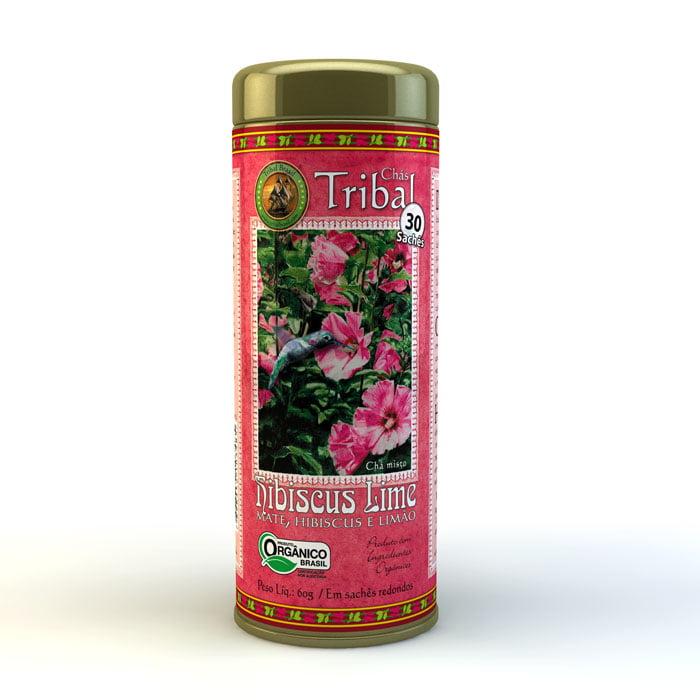 Chá Misto Orgânico Hibiscus Lime - Hibiscus, Erva Mate e Limão - Lata 60g - Tribal-Brasil