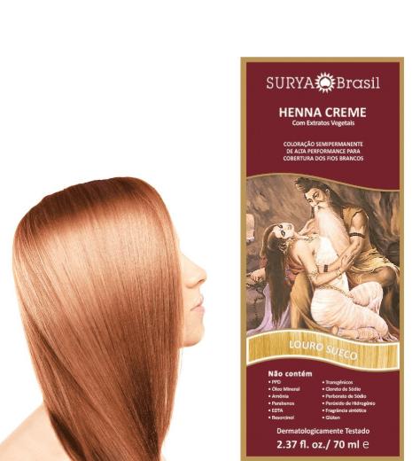 Coloração Natural Henna Creme Louro Sueco 70ml