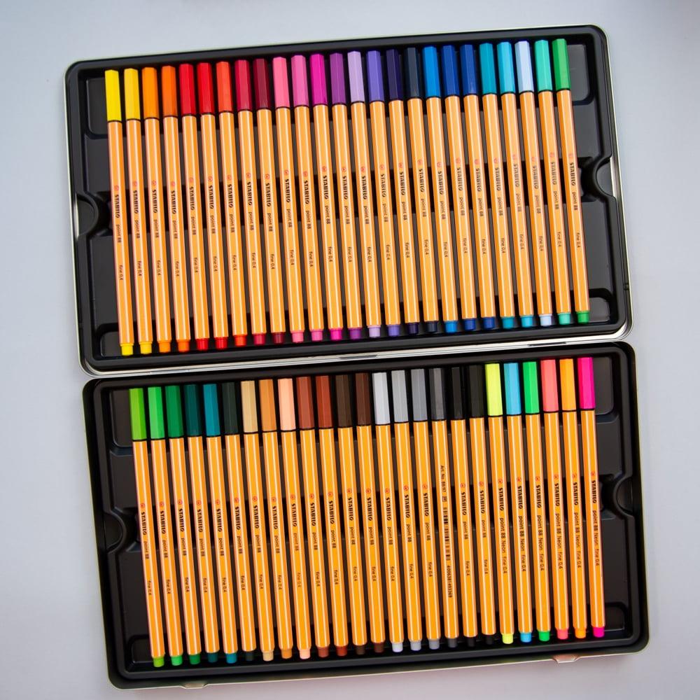 Estojo de metal Stabilo com 50 cores - point 88