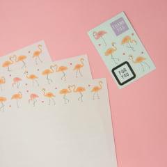 Kit Papel de carta - flamingo